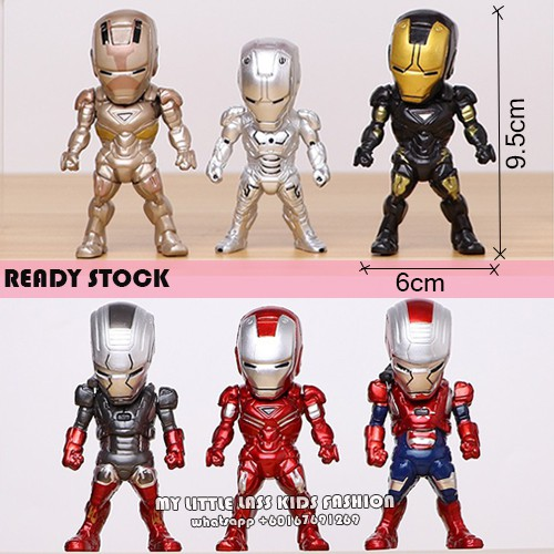 6Pcs Ironman Superheroes PVC Figure Cake Topper Premium Collection