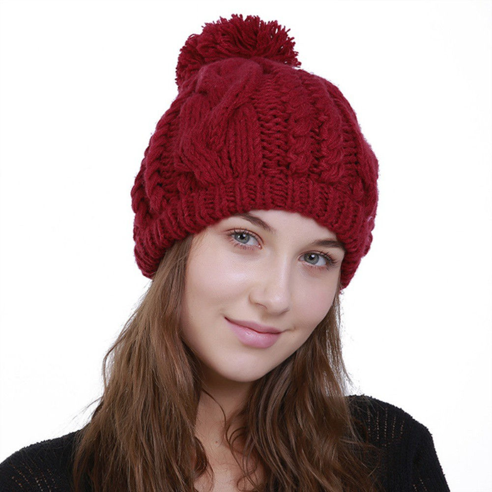 1dd76801 ♛MyQueen Women Men Pleated Cap Hand-woven Knit Beanie Warm Wool Hair Ball  Hat