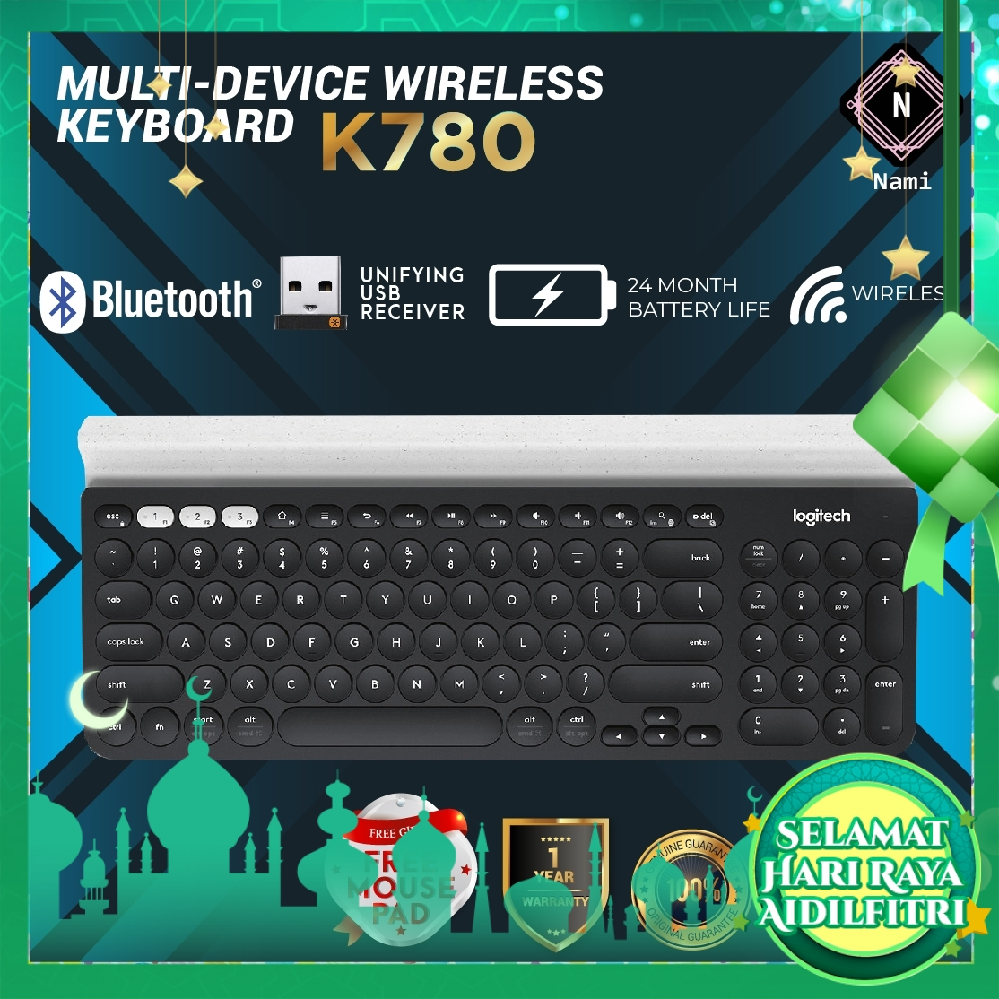 Logitech K780 Multi-Device Wireless Silent Keyboard for PC Computer Phone Tablet (EXTRA Protection + Fragile Sticker)