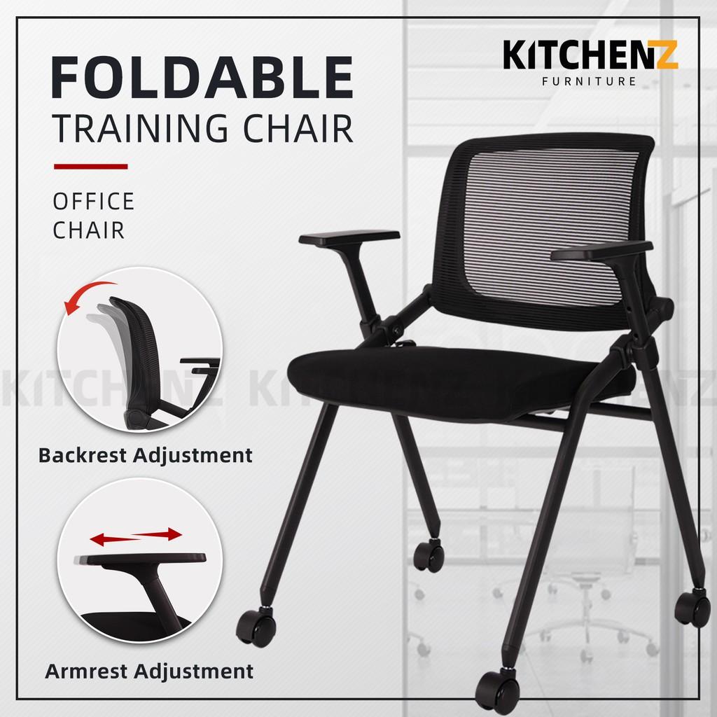 KitchenZ Foldable Mesh Back Office Chair / Training Chair with Ergonomic Design / Black - HMZ-OC-MB-9020-BK+BK