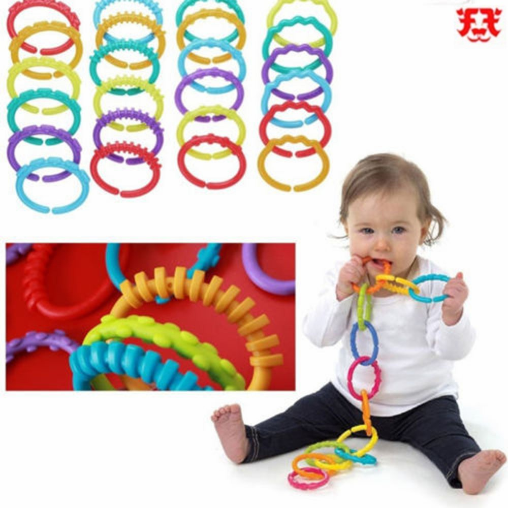 Baby Stroller Infant Toys Links Mat Gym Teether Kids Play Plastic Ring Rainbow