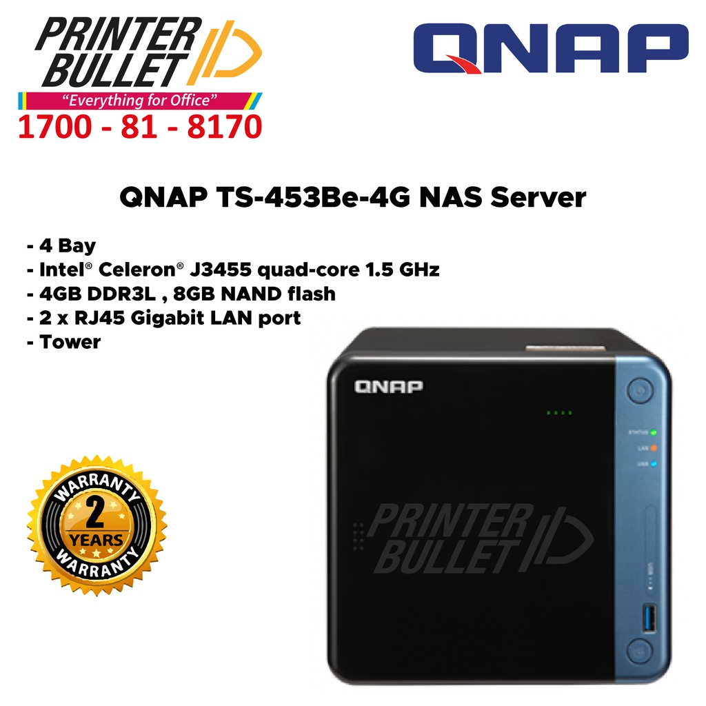 QNAP TS-453Be-4G Nas (4 Bay, Intel® Celeron® J3455 quad-core 1.5 GHz, 4GB DDR3L)