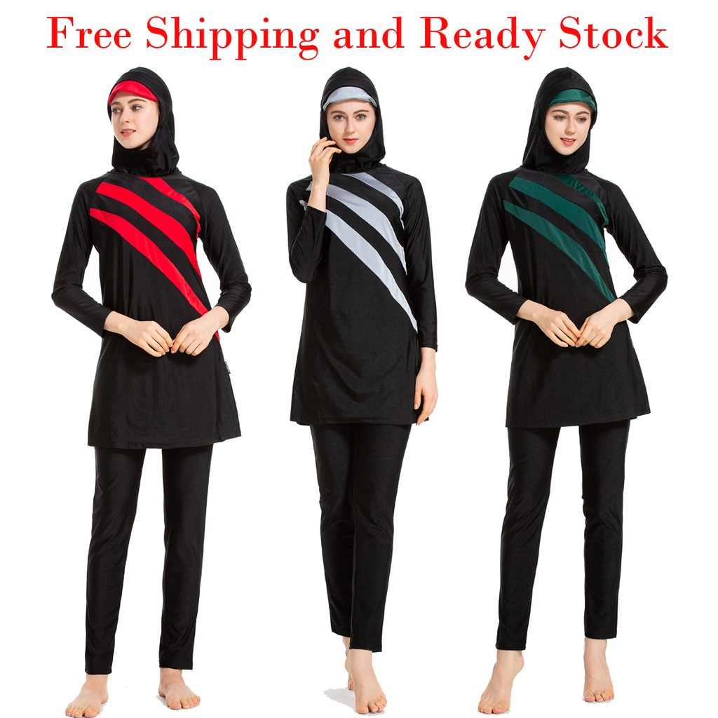 51698a41b3b Muslim Swimwear Islamic Full Cover Modest Swimsuit Beachwear Burkini Women  | Shopee Malaysia