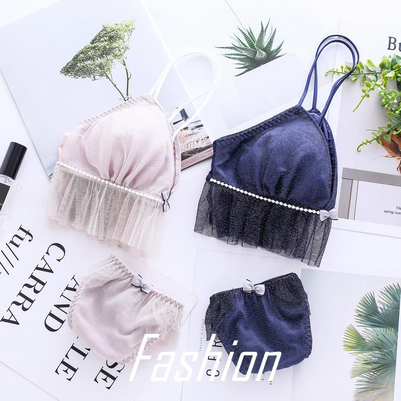 4b79e03e2f77 Cute bling flash girl bra set triangle cup without steel ring underwear  cotton c