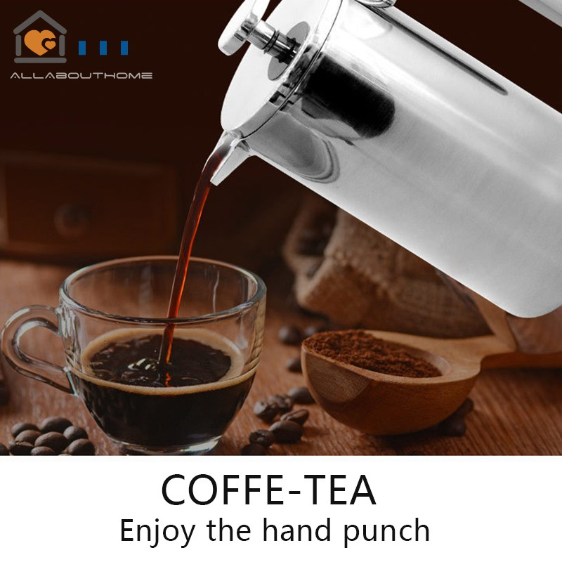 Stainless Steel French Press Coffee Maker Pot Double Layer Handmade Coffee  Kettle with Filter