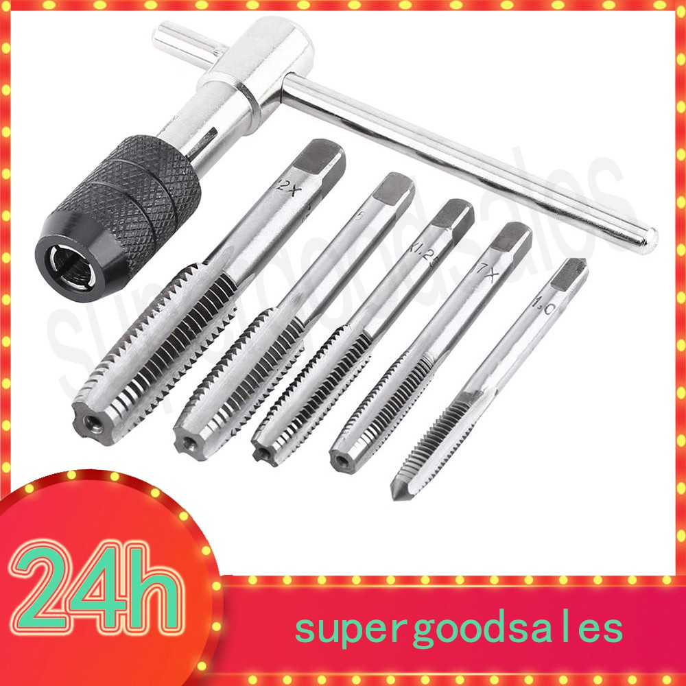 5dfc2d2eb2a0 6PCS/Set Screw Tap Wrench Threading Tapping Hand Tool Kit