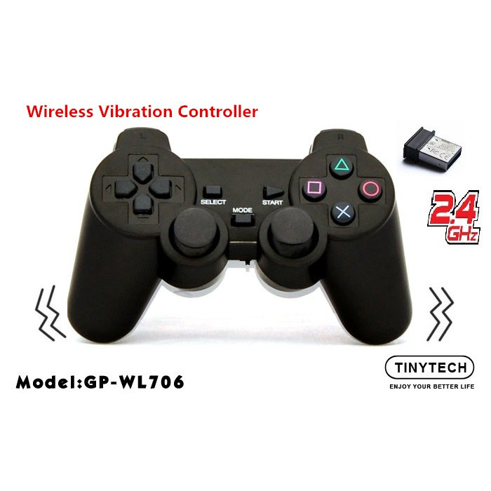 TINYTECH 2.4GHZ WIRELESS GAMEPAD JOYSTICK CONTROLLER WITH DUAL SHOCK VIBRATE (WL706) * Support XBOX 360