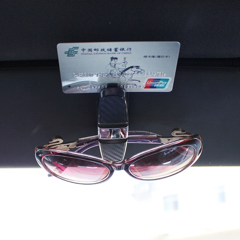 1pcs Black Car Sun Visor Glasses Sunglasses Card Ticket Holder Clip Universal