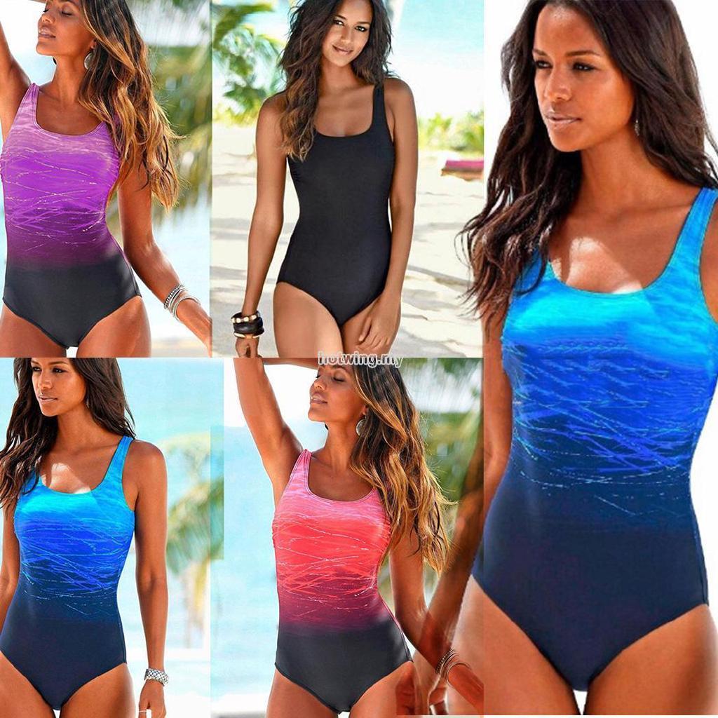 b39d2bdd352 HW❤ Women Casual O-Neck Sleeveless Pullover Slim One-piece Swimsuit |  Shopee Malaysia
