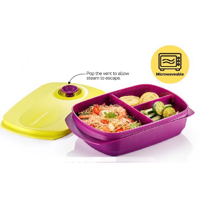 Tupperware Microwaveables Reheatable Divided Lunch Box (1.0L)