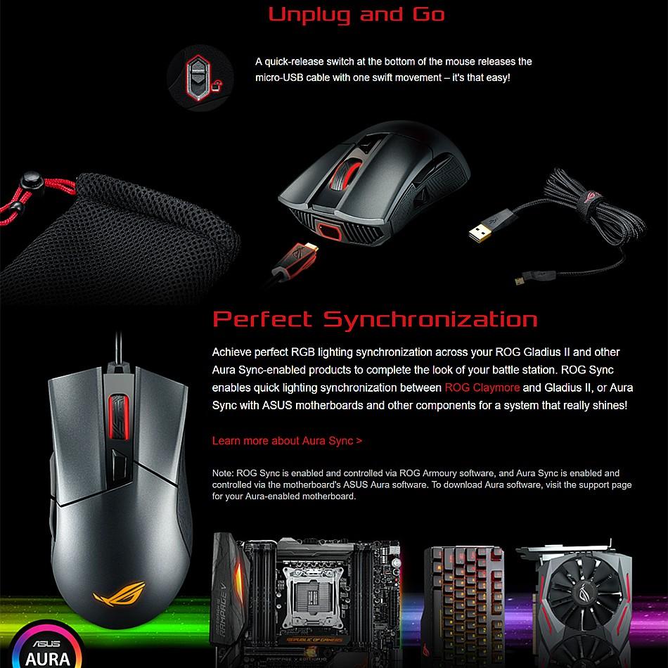 ASUS ROG Gladius II P502 Aura Sync Optical Ergonomic Gaming