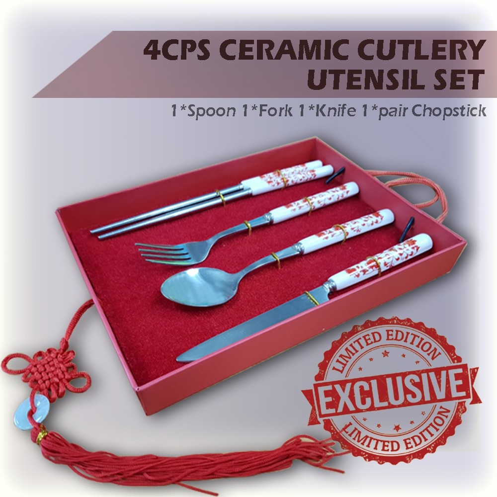 [Ready Stock] Premium Set 4PCS Ceramic Cutlery Utensil Set Stainless Still Chopstick Spoon Fork Knife