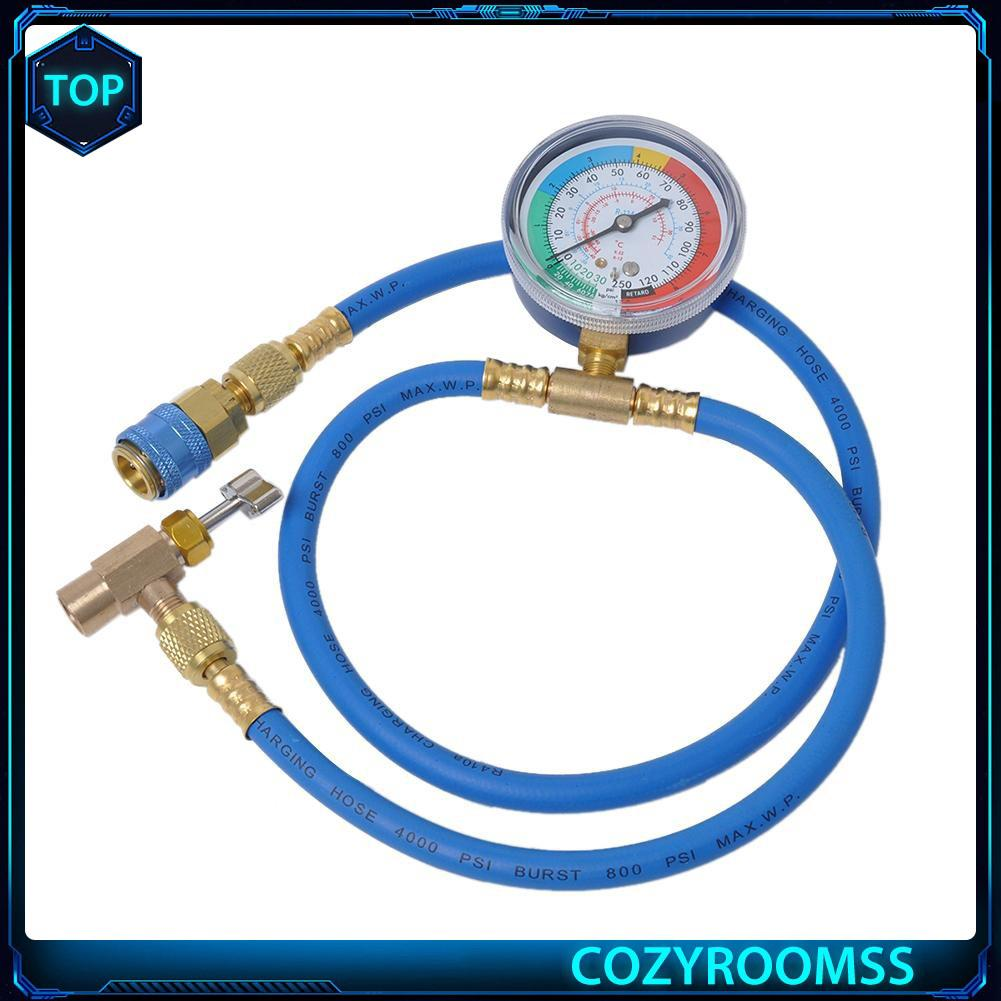 Car R134A Hose A//C Air Conditioning Refrigerant Recharge Hoses With Gauge