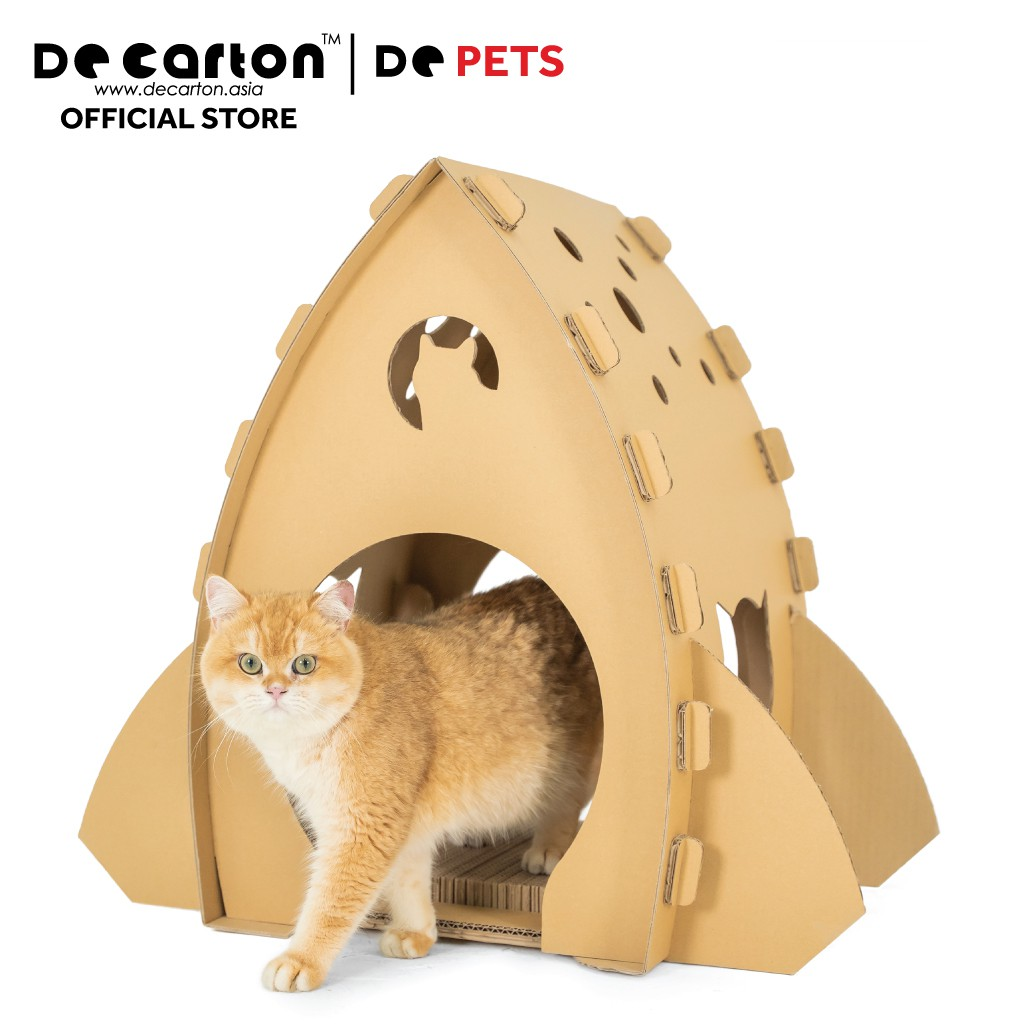 De Carton Cardboard Rocket Ship Cat House (Rumah Rocket Kucing)