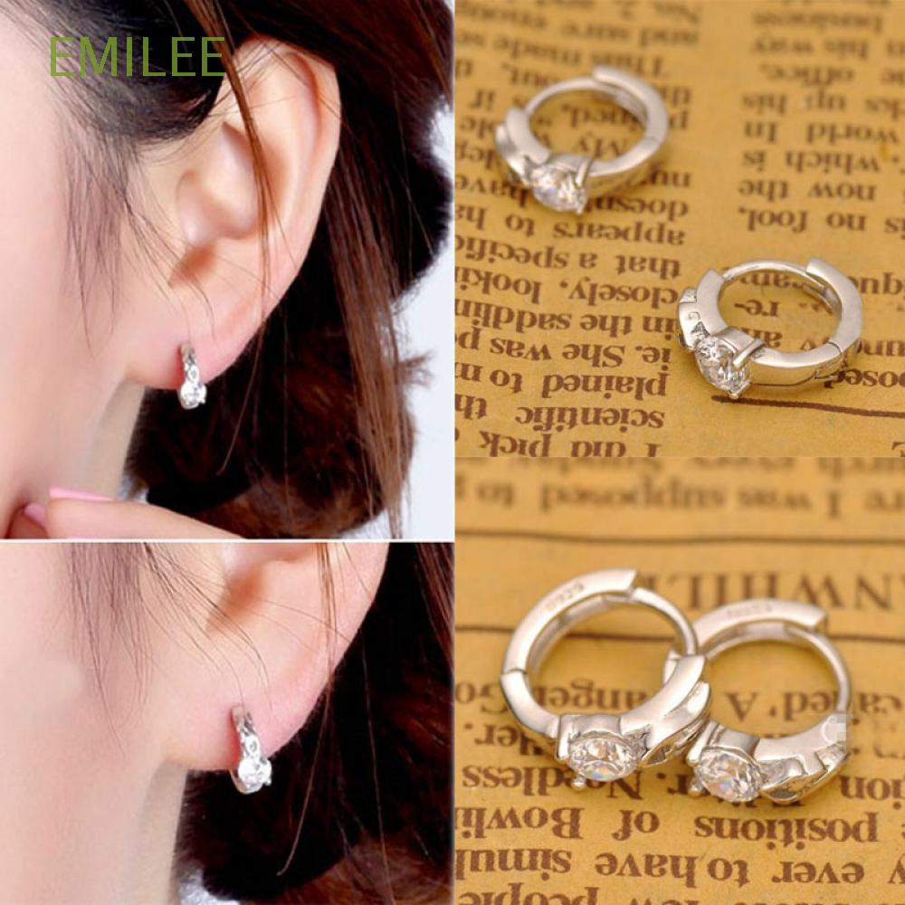 Kemstone Silver Color Crystals leverback Hoop Earrings for Women Girl Lady Wedding Fashion Jewelry