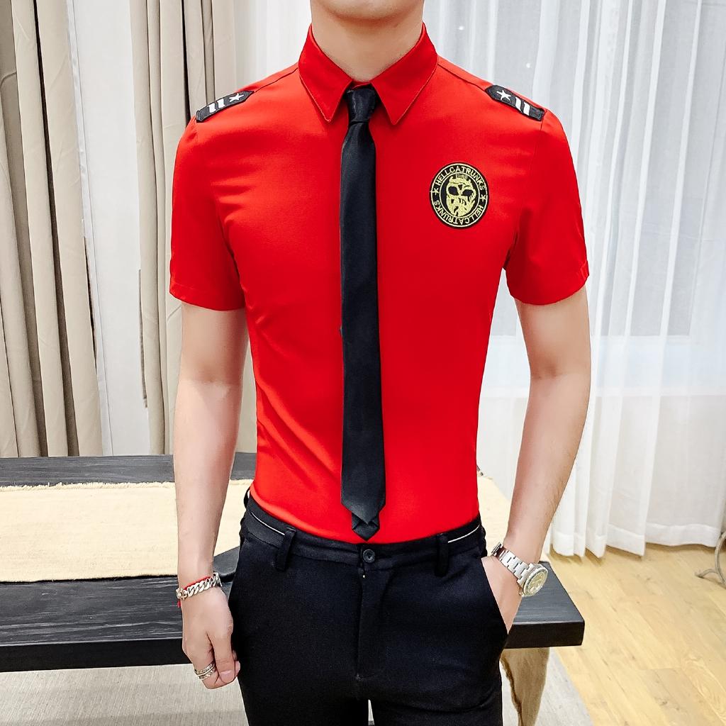 f3d9a8fa81 Summer Hot Uniform Shirt Bar Waiter Short Sleeve Tooling Shirt Men and  Women | Shopee Malaysia