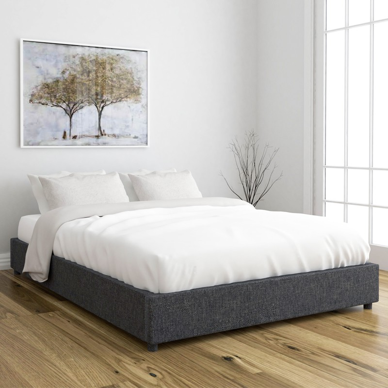 OWEN Queen Size Fabric Platform Bed Base kayu fabric katil queen frame  Dark Grey color