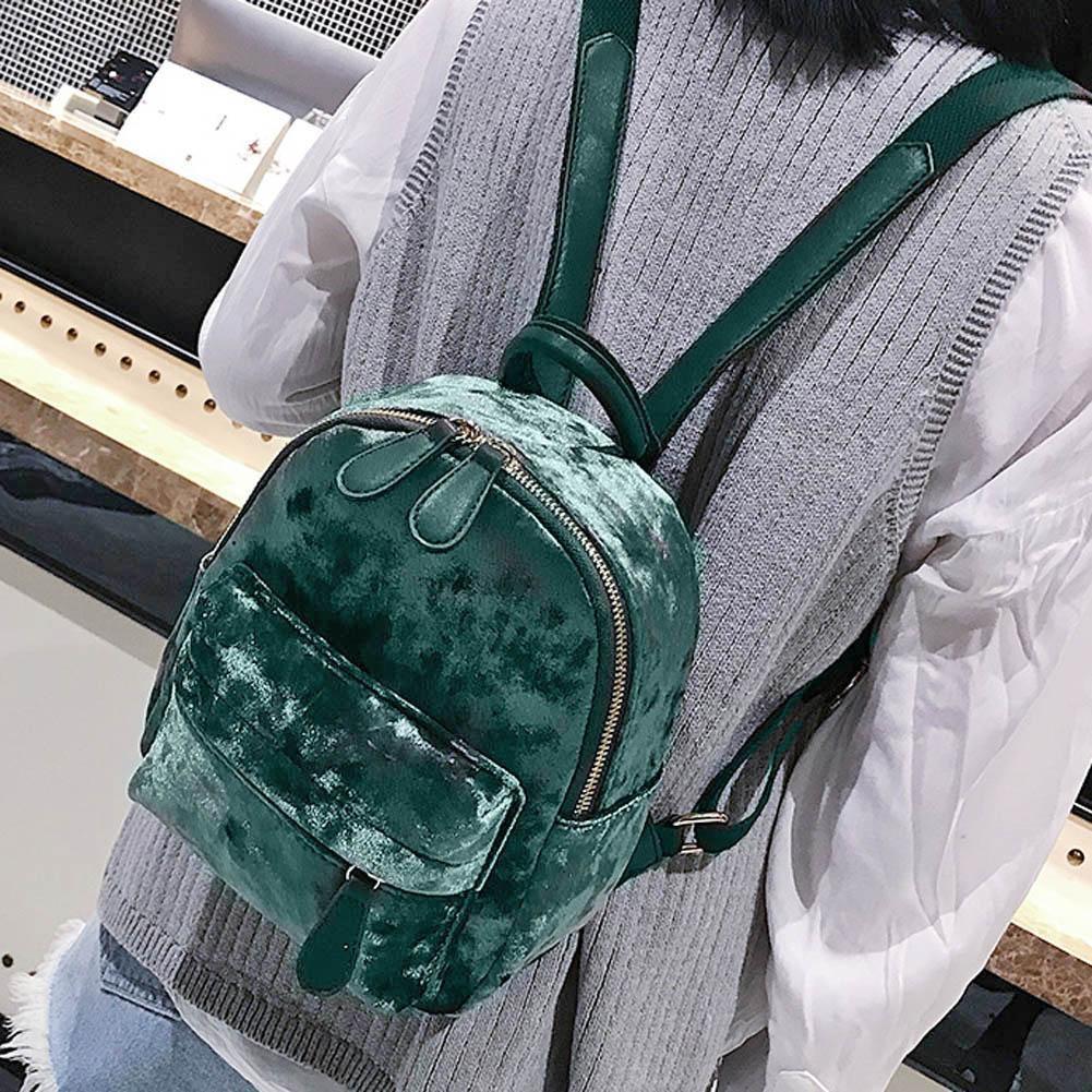 5a7af8687f26 Women Soft Velvet Backpack Teenager Girls Small Travel Backpacks School Bag
