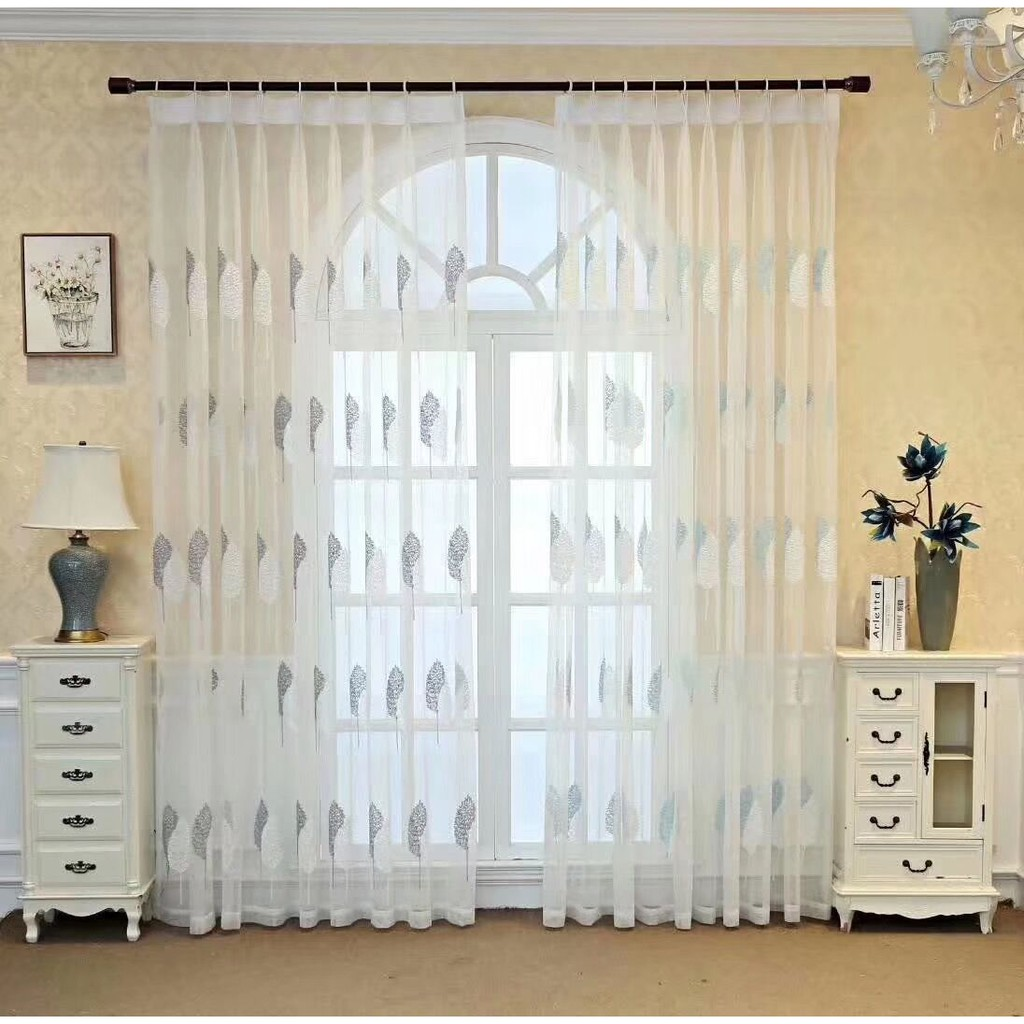 Ready Stock Embroidered White Grey Leaves Sheer Curtain Tulle Door Window Curtain Voile Curtain For Sliding Door Shopee Malaysia