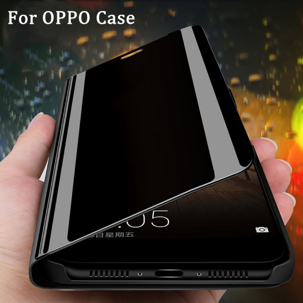 online store 9b0ec 463db Clear View Smart Mirror Flip Case For OPPO F5 F7 F9 F11 Pro K1 Find X R11S  plus Cover Leather Case Holder Flip Case