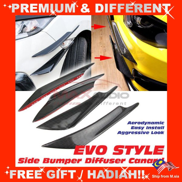 [FREE Gift] Universal Fitting for Most Cars Vehicles Evo Style Front Bumper Shark Fin Diffuser Canard (4pcs/Set)