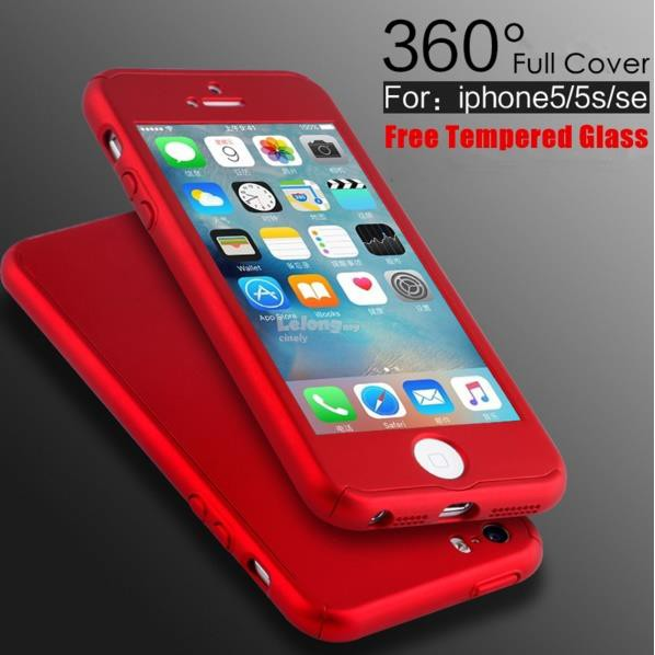 iPhone 5 5s SE 360 Full Body Protection Cover with free Tempered Glass