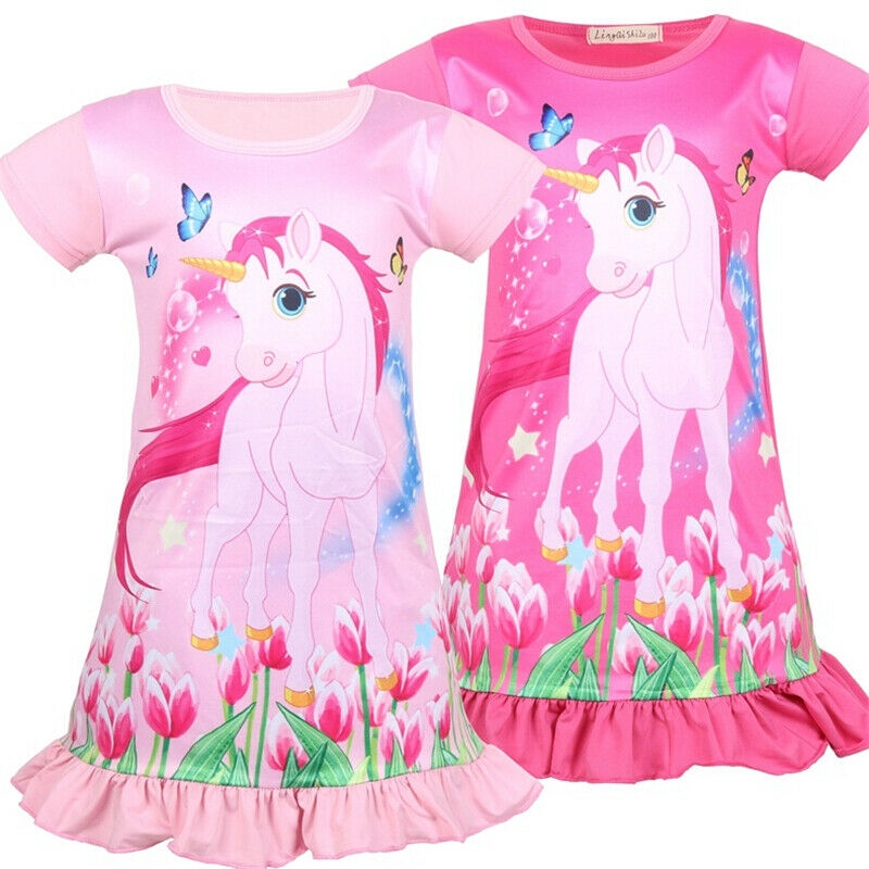 Kids Girls Unicorn Dress Floral Butterfly Print Sleeveless A Line Dress 4-9Y