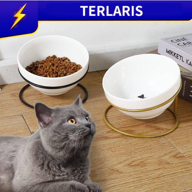 Bekas Makanan Kucing Cat Food Dispenser Bekas Makan Kucing Memiringkan Rak Mangkuk Haiwan Peliharaan Mangkuk Air Mangkuk Kucing Mangkuk Kucing Seramik Dengan Mangkuk Makanan Kucing Besi Untuk Melindungi Meja Makan Kucing Kartun