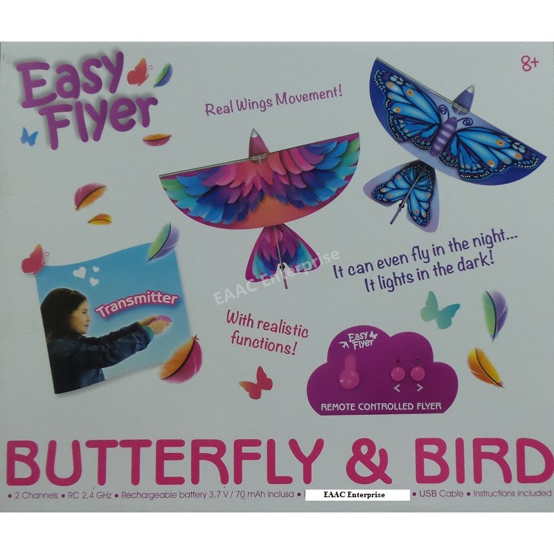CLEARANCE 2CH 2.4G RC Flyer Colourful Butterfly Bird Real Wing Movement