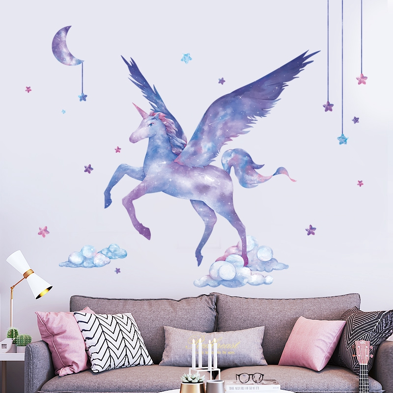 Wallpaper Unicorn Wall Stickers Living Room Sofa Background Wall Stickers Girls Room Decorations Bedroom Wallpaper Shopee Malaysia