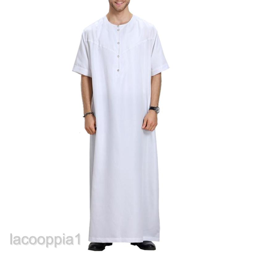 Men's Muslim Arab Islamic Solid Short Sleeve Thobe Thawb Caftan