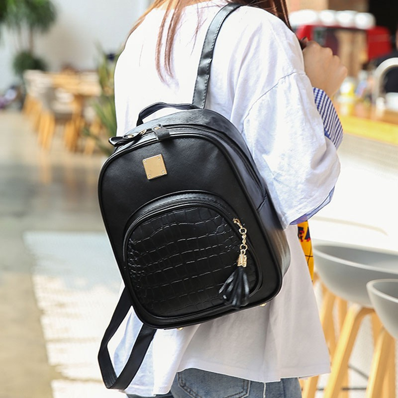 0297ca61b81d PU Leather Stone Sequined Women Backpack Female School Bags For Teenager  Girls Preppy Style Mini Small Backpack Rucksack