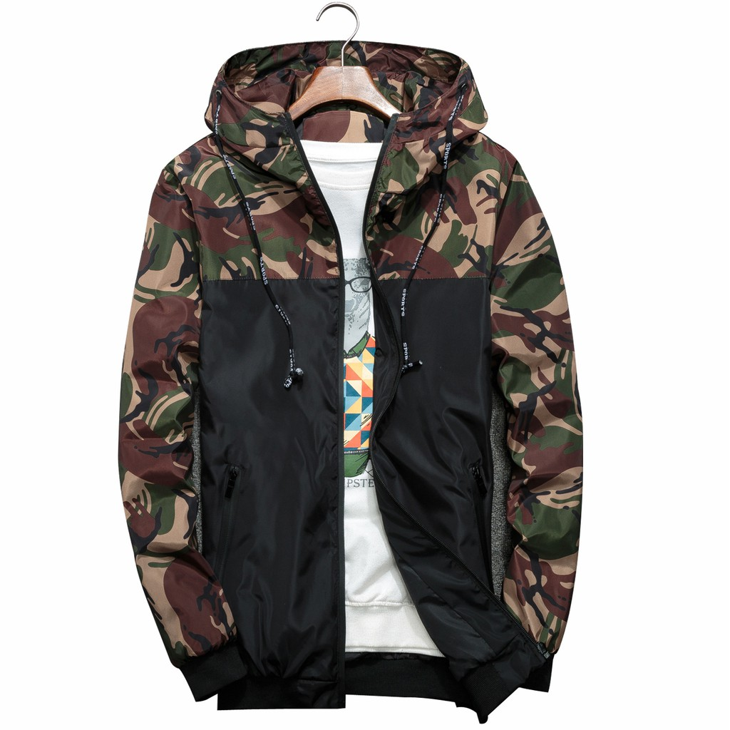 Men Clothing Fashion Spring Casual Jacket Camouflage Hooded Men Coat Boys Jacket