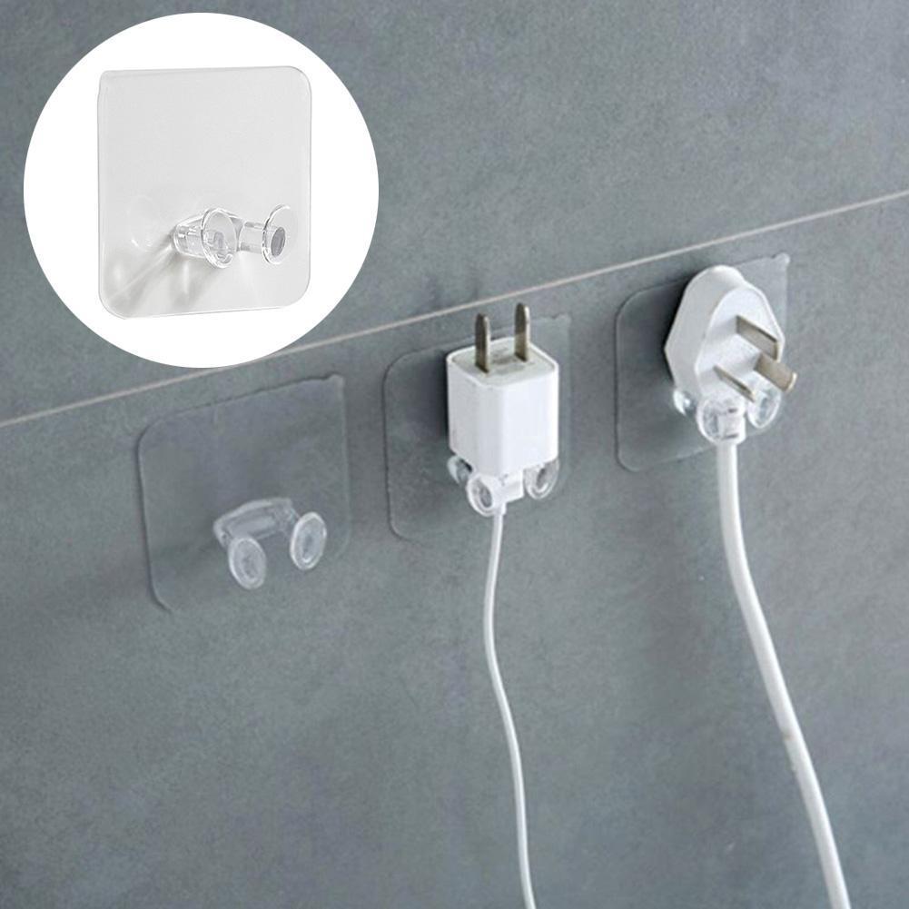 1pc Wall Storage Hooks Power Plug Socket Holder Wall Adhesive Hanger Home Office