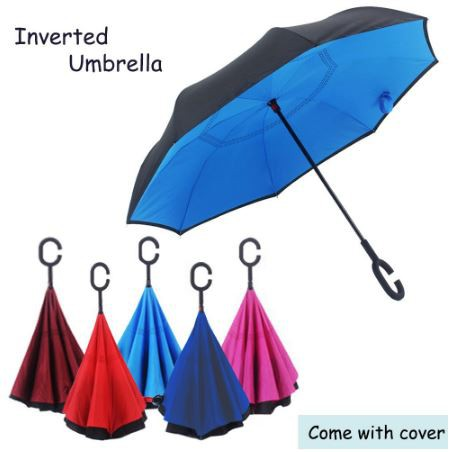 a04c91e639b3 🌟READY STOCK🌟 Payung Inverted Reverse Double Layer Umbrella C Handle Hook