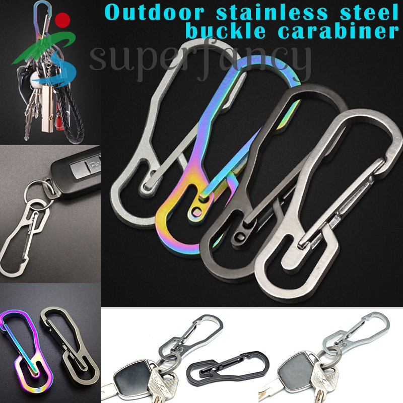 Portable Outdoor Stainless Steel Buckle Carabiner Keychain Key Ring Clip Hook JT