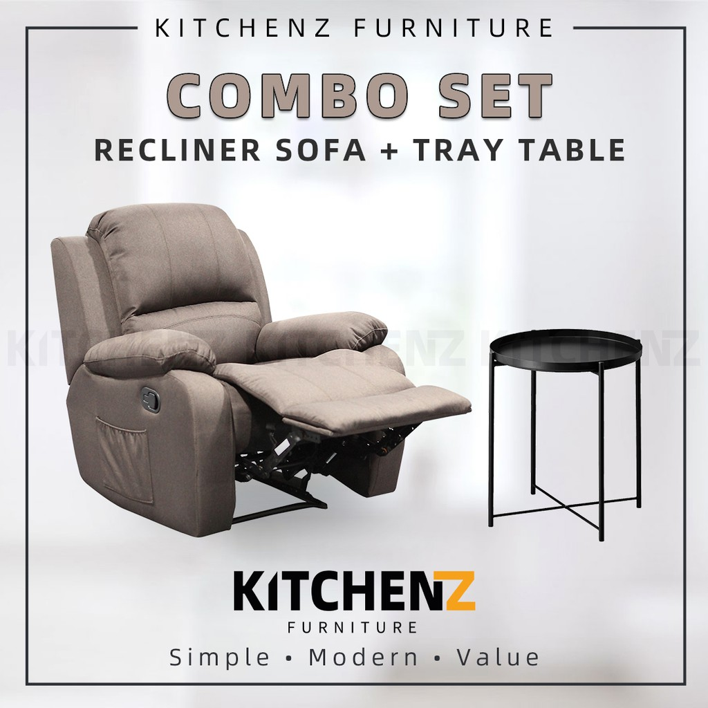[COMBO] KitchenZ 3FT Fabric Recliner Sofa / Brown + Tray Table Removable Tray Top / Side Table / Coffee Table