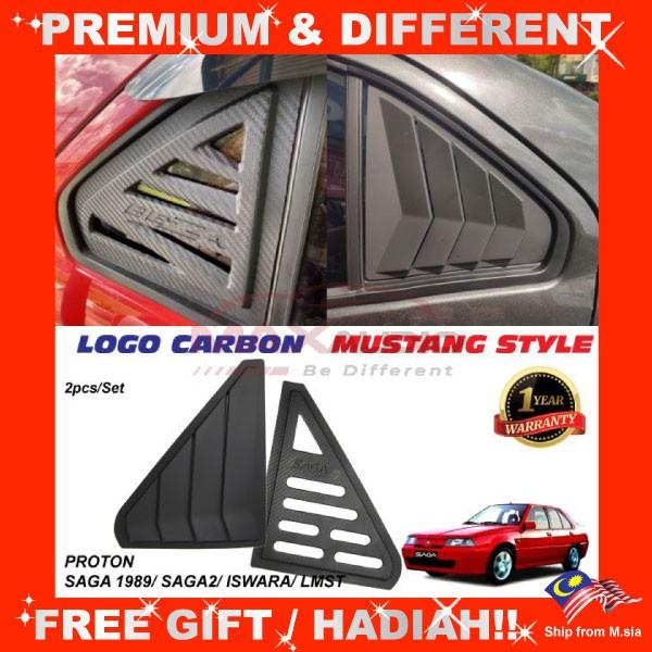 [FREE Gift] PROTON SAGA 1989/ SAGA 2/ ISWARA/ LMST Premium Mustang Style / Carbon Logo ABS Window Louver Cover Guard (Pair)
