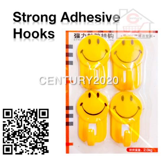 Strong Adhesive Hook Bathroom Kitchen Hook With Plastic Hook Big Smiley Hook