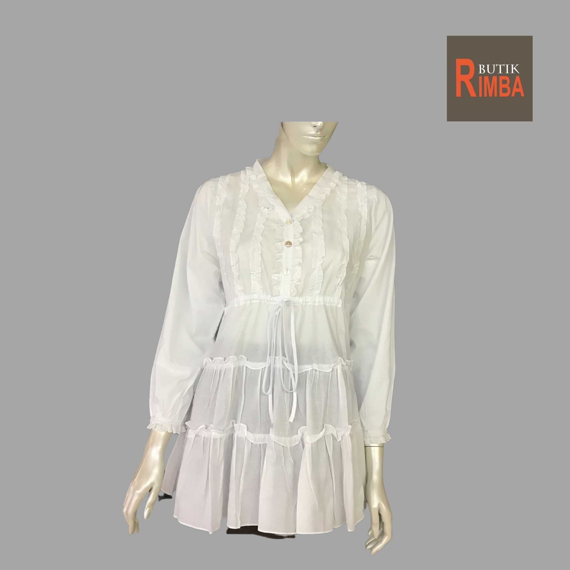 WOMEN CASUAL AND COMFORTABLE WHITE BLOUSE COTTON FREE SIZE PATTERN 19