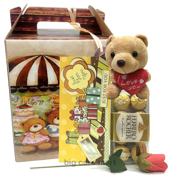 Valentine Gift Ferrero Rocher 6 Pcs & Teddy Bear & Gift Bag