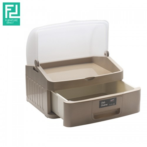 Century 6882-1 multipurpose plastic tray with drawer- brown
