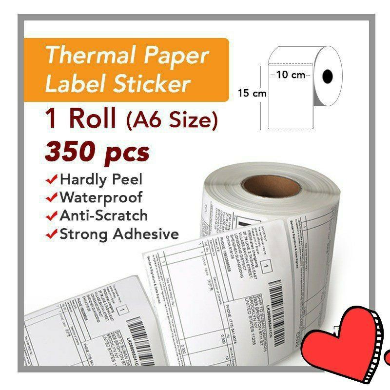 (READY STOCK) Thermal Paper Label A6 Size (350 PC) 10x15 cm Sticker Shipping Courier Airway