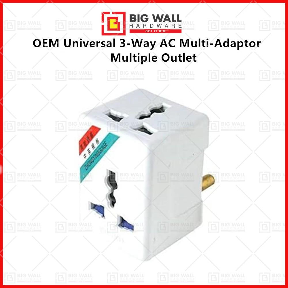 OEM Multiple Outlet Universal 3-Way AC Multi-Adaptor Wall Plug Big Wall Hardware
