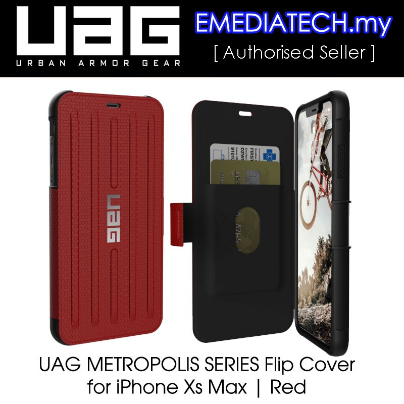 innovative design 21a4c 0c1af Urban Armor Gear UAG METROPOLIS SERIES Flip Cover Case For iPhone Xs Max |  Magma