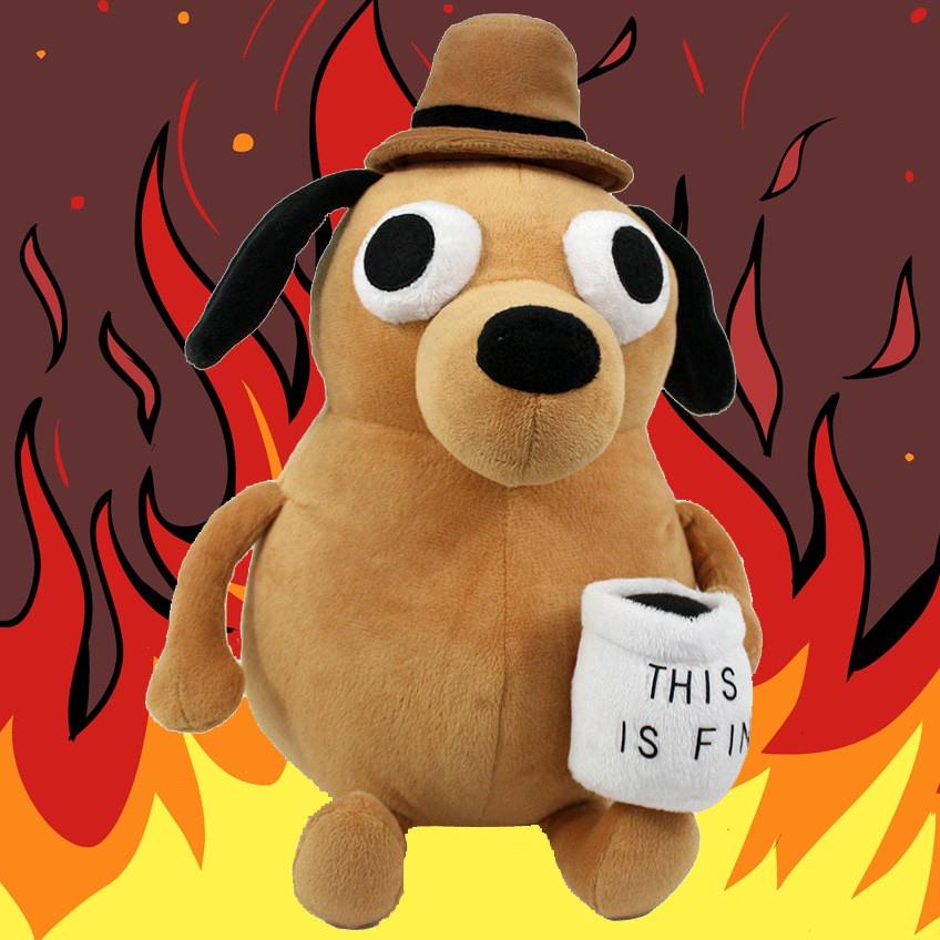 JD.COM: This Is Fine Meme Coffee Dog Plush Toy Soft Stuffed Doll Animals Kids Toy Gift for Birthday (0:0:Color:Brown Coffee Fine;1:0:Size:25cm)