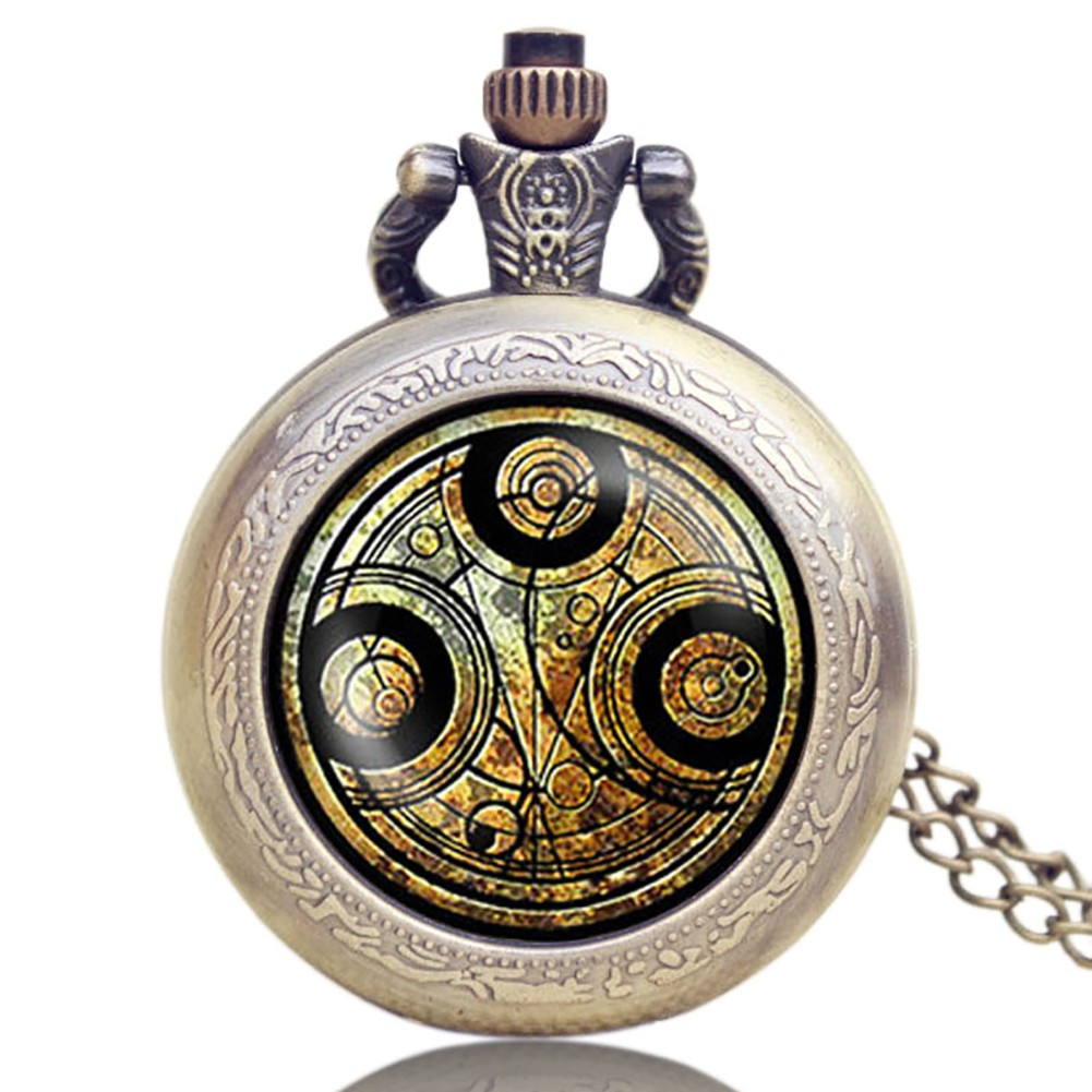 11b6c0fad Classic Pocket Watch Doctor Who Series Glass Dome Bronze Retro Necklace  Chain | Shopee Malaysia