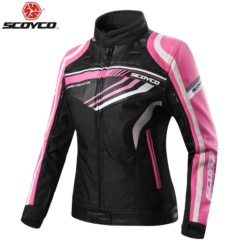 Ladies Women Motorcycle Motorbike Scooter Bike Moto Motorcross Waterproof Textile Pink Safety Protective Armored Padded Jacket