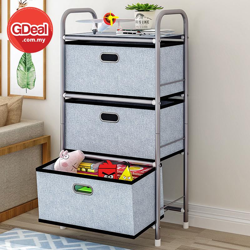 GDeal  Fabric Multipurpose Drawer Clothes Cabinet Multi Layer Toys Storage Box Rak Simpanan رق سيمڤنن