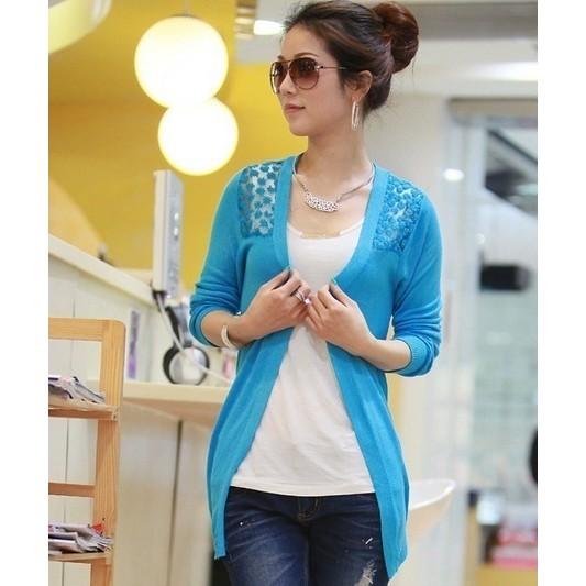 b287d557e6 Women Fashion Sweet Candy Color Crochet Knit Blouse Long Lace Cardigan Coat